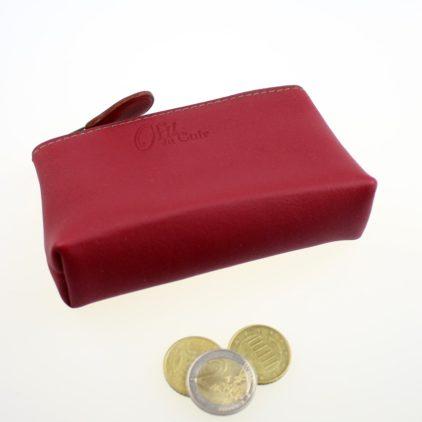 Porte monnaie ofilducuir cuir borbeaux kaki pochette maroquinerie Lyon femme accessoires