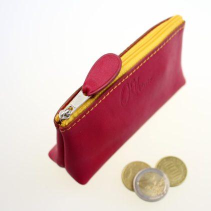 Porte monnaie ofilducuir cuir framboise pochette maroquinerie Lyon femme