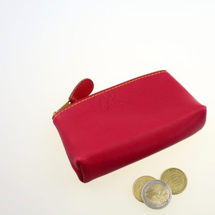 Porte monnaie ofilducuir cuir pochette maroquinerie Lyon femme framboise accessoire