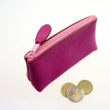 Porte monnaie ofilducuir cuir pochette maroquinerie Lyon femme fuchsia