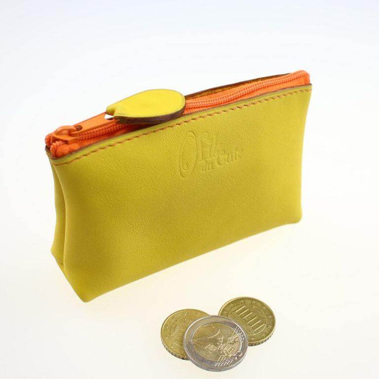 Porte monnaie ofilducuir cuir pochette maroquinerie Lyon femme jaune