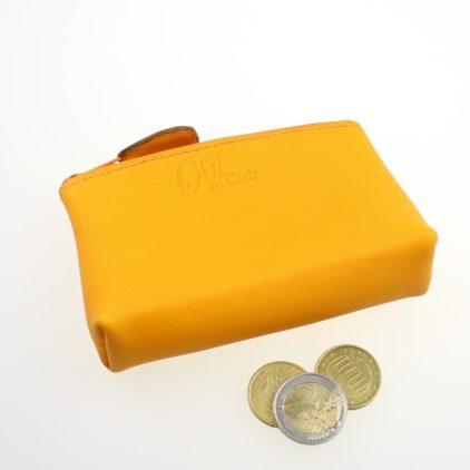 Porte monnaie ofilducuir cuir pochette maroquinerie Lyon femme jaune orangé