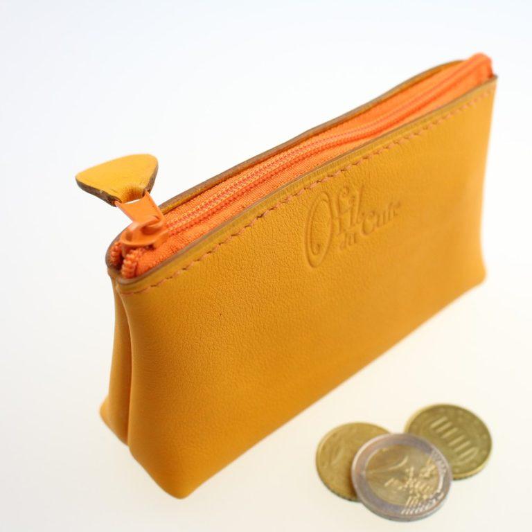 Porte monnaie ofilducuir cuir pochette maroquinerie Lyon femme jaune orangéaccessoire