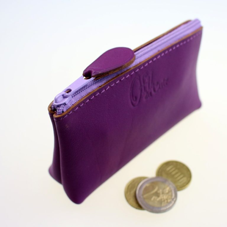Porte monnaie ofilducuir cuir pochette maroquinerie Lyon femme violet accessoire
