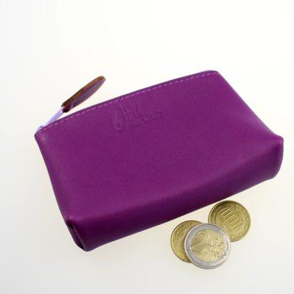 Porte monnaie ofilducuir cuir pochette maroquinerie Lyon femme violet