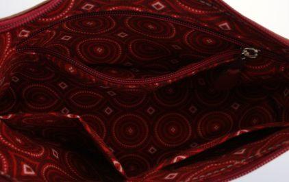 Sac main cuir bordeaux maroquinerie Lyon doublure tissu
