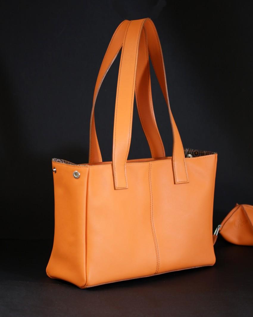 Sac main femme cuir orange maroquinerie Lyon bandoulière