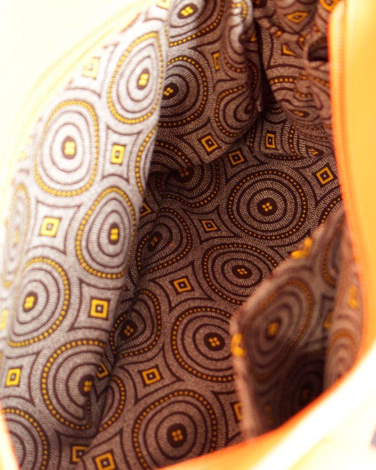 Sac main femme cuir orange tissu africain