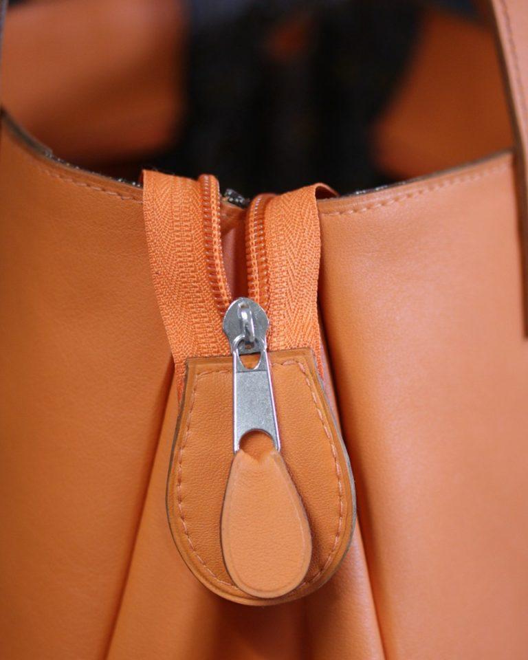 Sac main femme cuir orange Lyon artisanat
