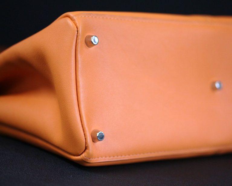 Sac main femme cuir orange maroquinerie Lyon