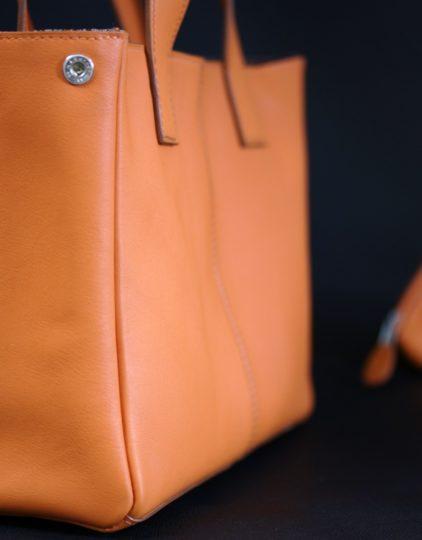 Sac main femme cuir orange maroquinerie