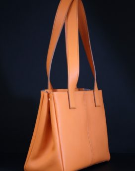 Sac main femme cuir orange