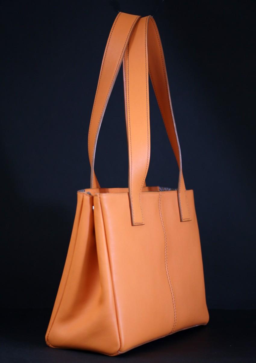 Sac main femme cuir orange