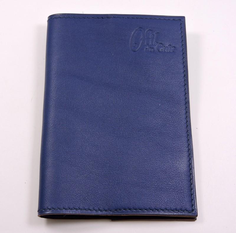 Protège passeport voyage cuir bleu marine