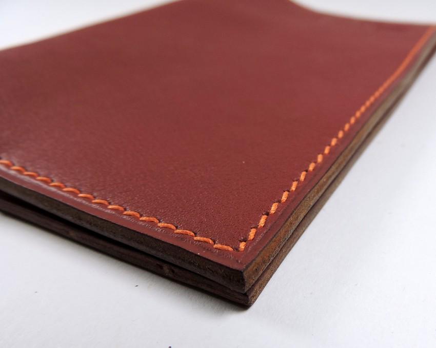 Protège passeport voyage cuir bordeaux maroquinerie Lyon