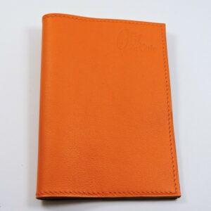 Protège passeport voyage cuir orange
