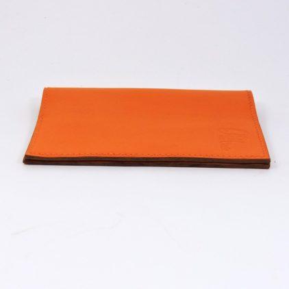 Protège passeport voyage cuir orange maroquinerie Lyon