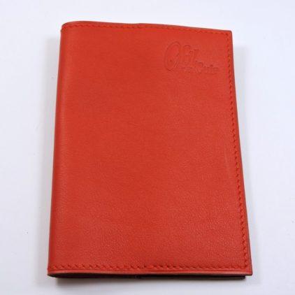 Protège passeport voyage cuir rouge orangé