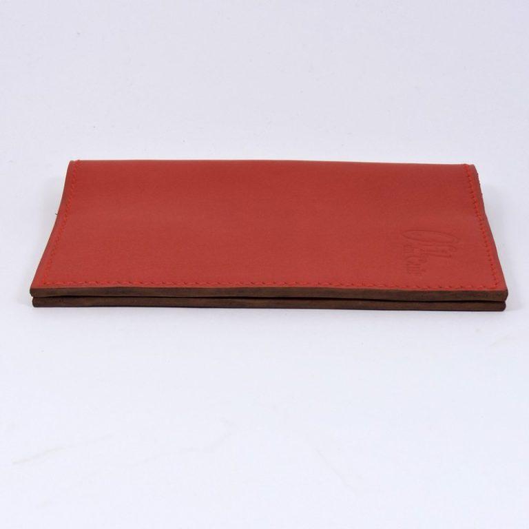 Protège passeport voyage cuir rouge orangé maroquinerie Lyon