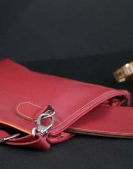 Sac main pochette cuir bordeaux orange