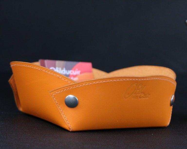Vide poches cuir orange accessoire maroquinerie Lyon ofilducuir
