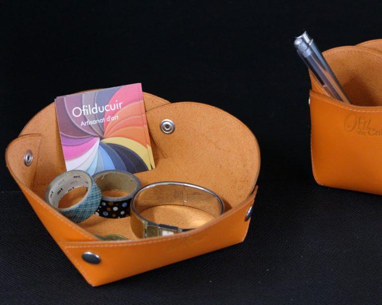 Vide poches cuir orange accessoire bureau maroquinerie Lyon ofilducuir