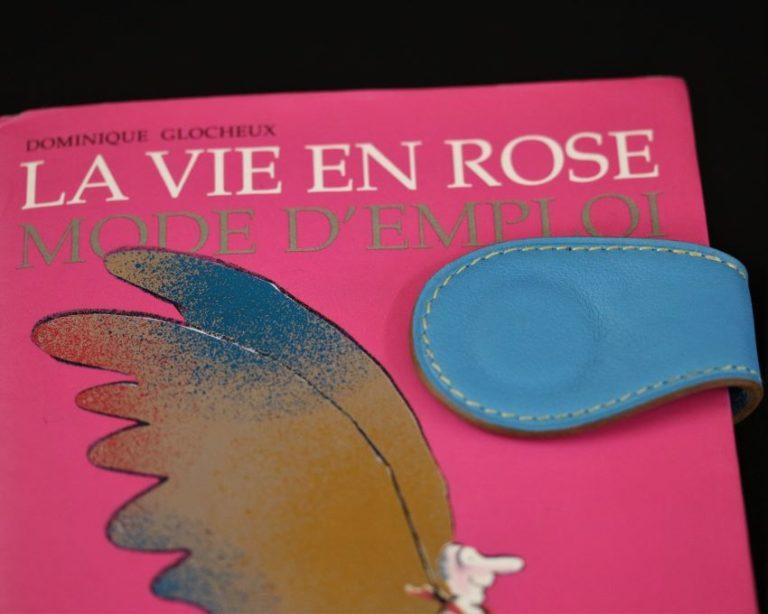 Marque page cuir bleu ciel accessoire magnétique ofilducuir