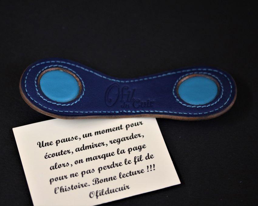 Marque page cuir bleu marine magnétique ofilducuir