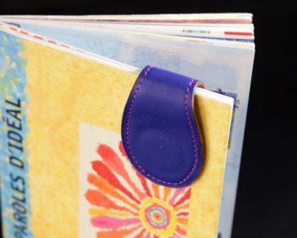 Marque pages cuir bleu magnétique ofilducuir accessoire