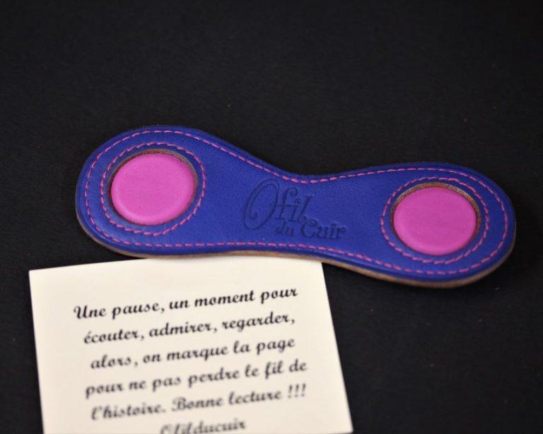 Marque page cuir bleu fuchsia magnétique ofilducuir