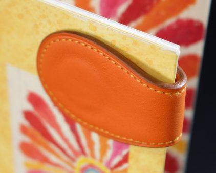 Marque pages cuir orange magnétique ofilducuir accessoire