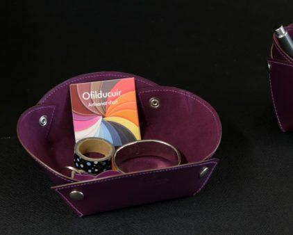 Vide poches cuir aubergine accessoires bureau cuir ofilducuir