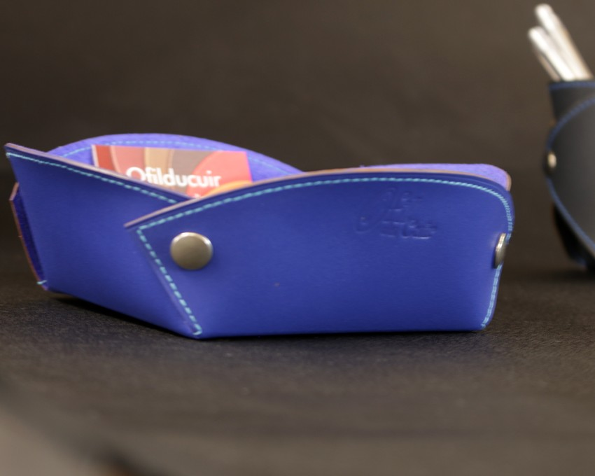 Vide poches cuir bleu accessoires bureau cuir ofilducuir