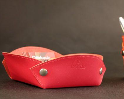 Vide poches cuir rouge accessoires maroquinerie bureau cuir ofilducuir