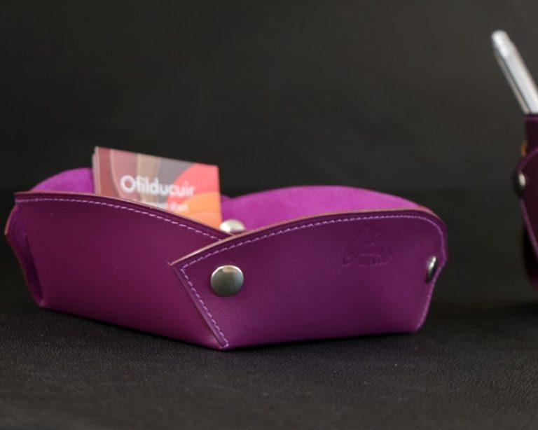 Vide poches cuir violet accessoires maroquinerie bureau cuir ofilducuir