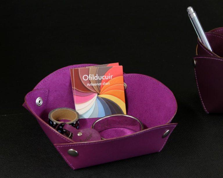 Vide poches cuir violet accessoires bureau cuir ofilducuir