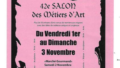 Salon des métiers d'art à Sarras du 1 au 3 novembre 2019.