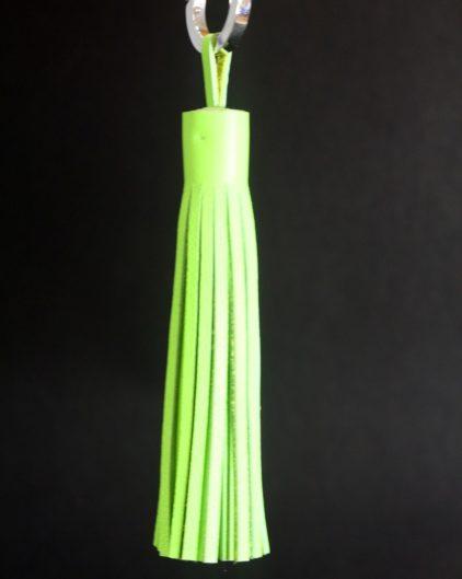 Pompon-cuir- vert-anis-accessoire-ofilducuir-décoration-intérieure-lyon