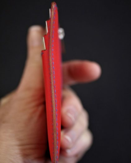 Porte cartes portefeuille homme cuir artisanat français lyonnais maroquinerie accessoire cuir rouge ofilducuir