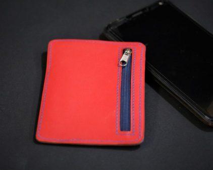 Porte cartes portefeuille cuir artisanat français lyonnais maroquinerie accessoire cuir rouge ofilducuir