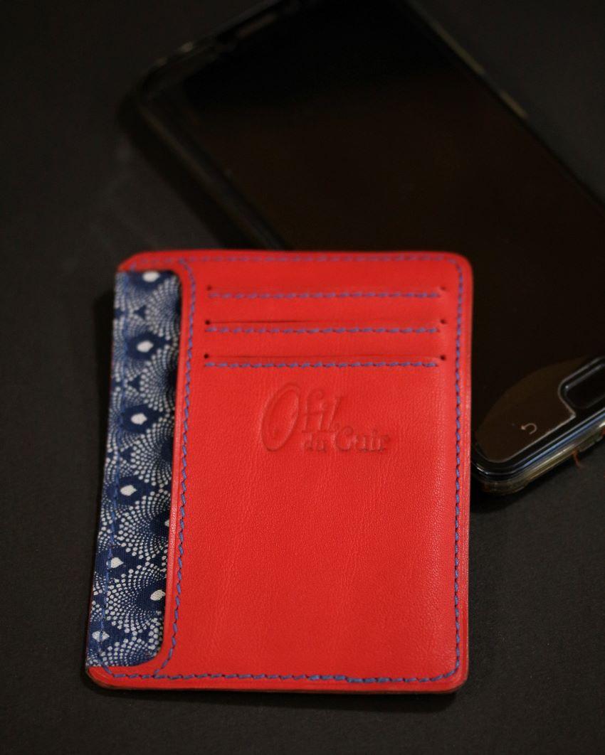 Porte cartes portefeuille cuir artisanat français lyonnais cuir ofilducuir