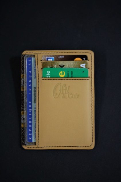portefeuille porte cartes bancaire cuir camel ofilducuirs