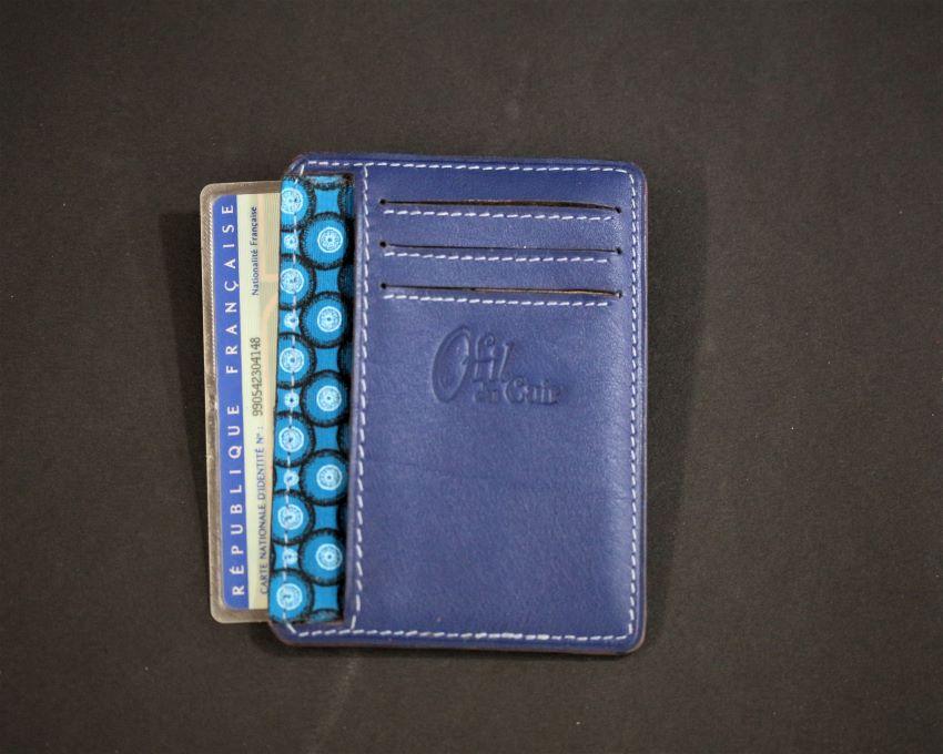 Porte cartes bancaire portefeuille cuir bleu ofilducuir