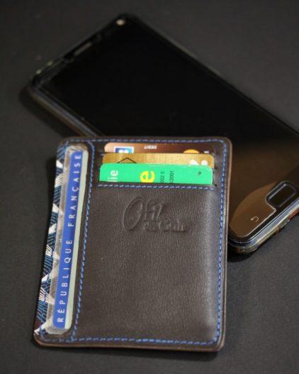 Porte cartes portefeuille cuir artisanat français lyonnais maroquinerie accessoires cuir ofilducuir