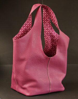 sac main cuir grainé fuchsia maroquinerie femme lyon ofilducuir