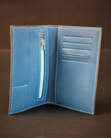 portefeuille cuir bleu maroquinerie haute gamme ofilducuir