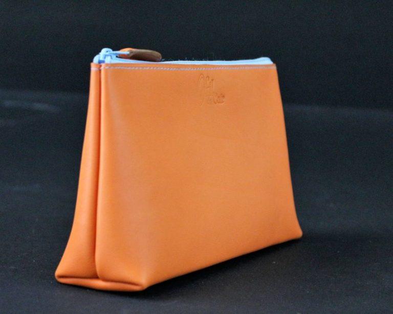 Pochette trousse cuir orange maroquinerie lyon ofilducuir