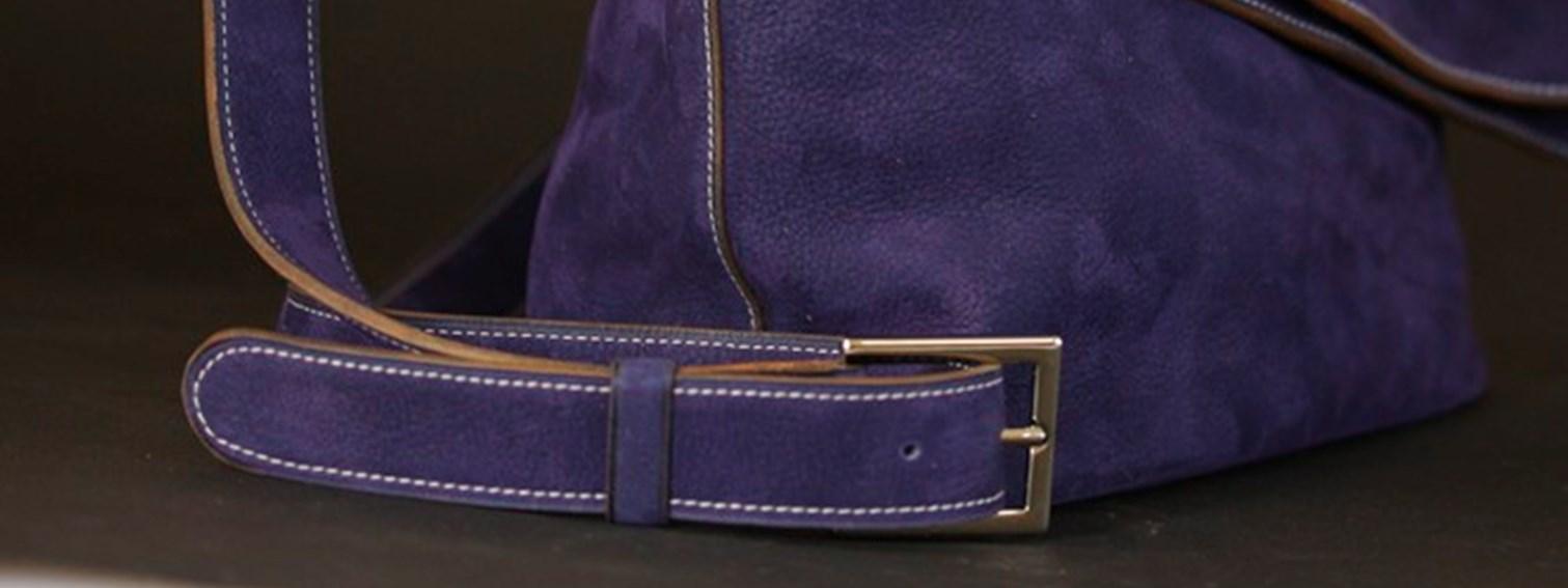 sac main bandoulière femme maroquinerie cuir bleu nubuck ofilducuir