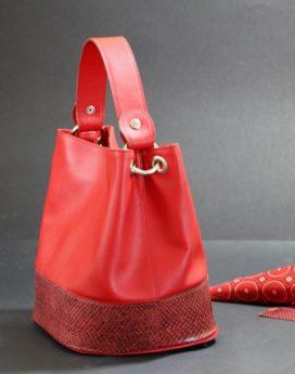 sac main seau rouge cuir saumon maroquinerie haute gamme ofilducuir