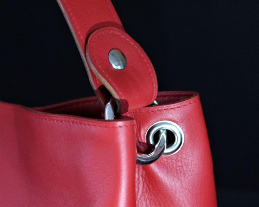 sac main seau rouge cuir saumon ofilducuir